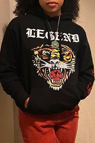 front_Hoodie Letter Graphic Pocket Drawstring Pullover Black Sweatshirts & Hoodies