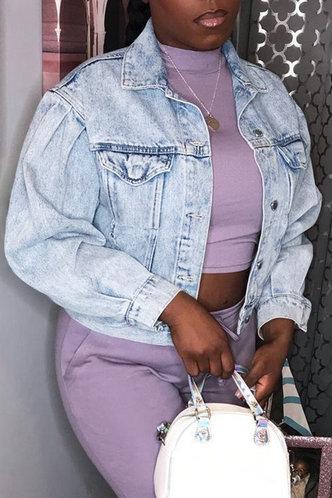 front_Selena Ethel Wash Light Blue Jacket