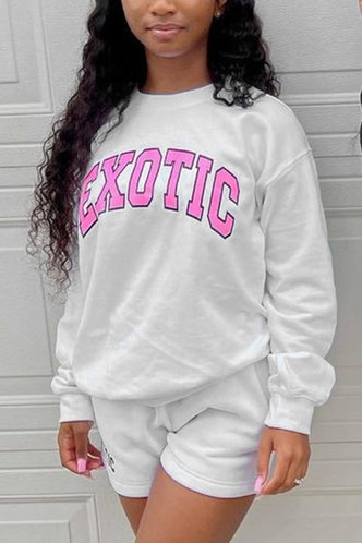front_Casual Crew Neck Letter White Sweatshirts & Hoodies