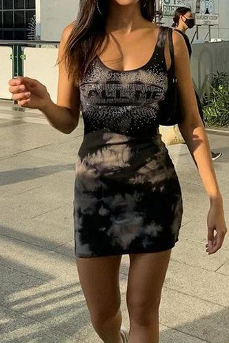 front_Meredith Elsa Black Tie Dye Tank Dress
