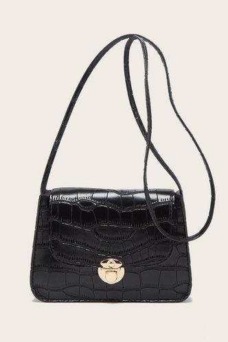 front_Suzan Elvira Black Crossbody Bag
