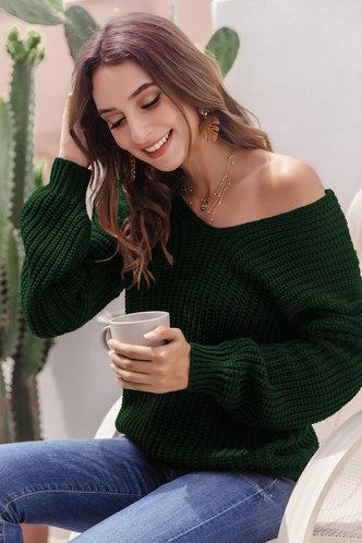 front_Ona Dark Green Sweater