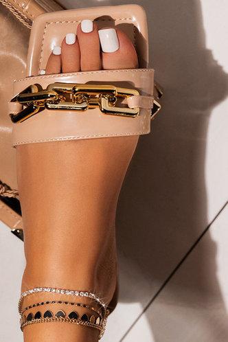 front_Ivory Emma Khaki Open Toe Slide Sandals