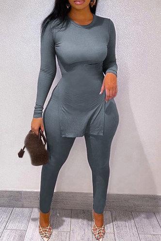 front_Solid Split Pullover Blue Pants Sets