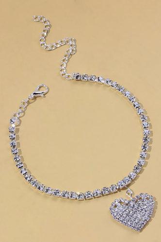 back_Sweet Rainstone Heart Silver Body Jewelry