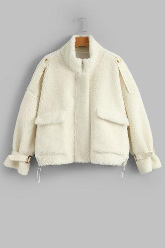 front_Laertes Apricot Teddy Coat