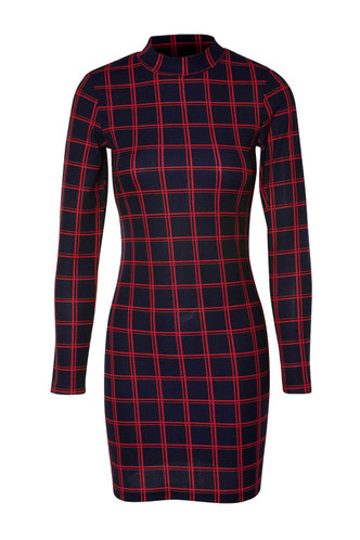 front_Mock Up Blue And Red Plaid Bodycon Dress