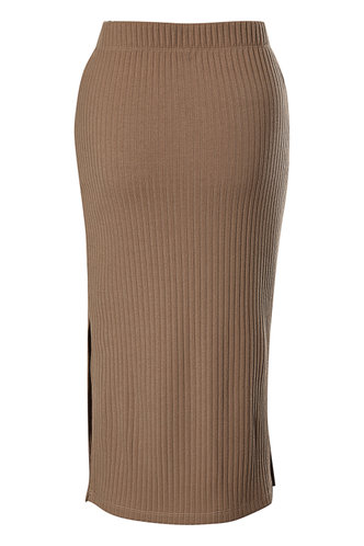 back_High Waist Solid Rib Knit Khaki Skirts