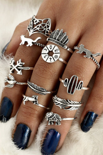 front_Tessa Elma Sliver Animal Decor Ring 12pcs