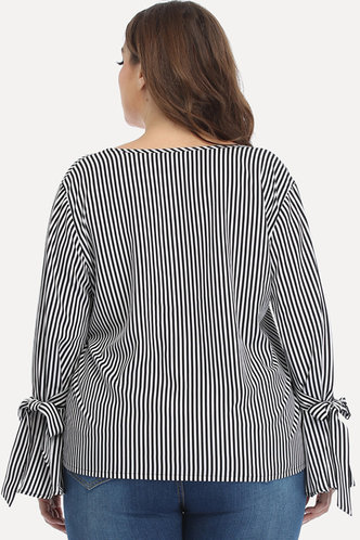 back_Tracy Eartha Black And White Striped Plus Blouse