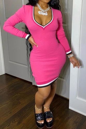 front_Heart Shaped Collar Regular Sleeve Rose Pink  Dresses