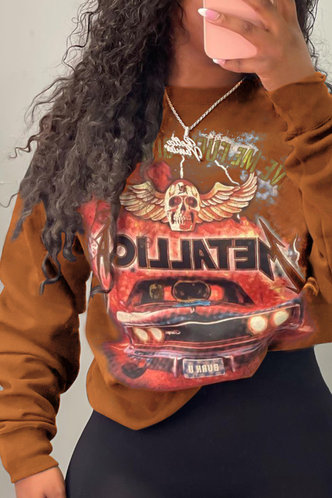 back_Casual Street Round Neck All Over Print Brown Sweatshirts & Hoodies