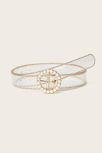 front_Edna Elsie Pearl White And Gold O-ring Buckle Belt