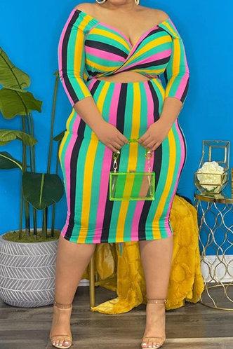 front_Eunice Nomum Rainbow Striped Plus Off Shoulder Dress