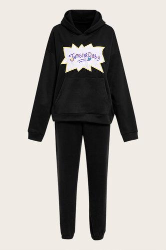 back_Letter Print Drawstring Pullover Black Sweatshirt Sets