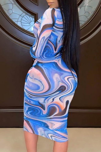 back_Shopping Vacation Long Sleeve Crew Neck Blue Wave Print Tie Dye Dresses