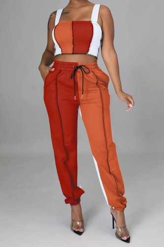 front_Liz Elizabeth Orange And Red Plus Size Pants Set