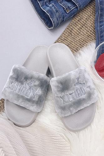 front_Ethel Evangeline Grey Plush Slides