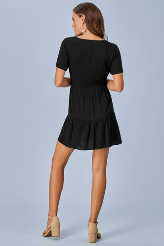 back_All Buttoned Up Black Mini Dress