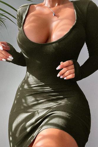 back_Scoop Neck Army Green Mini Dress