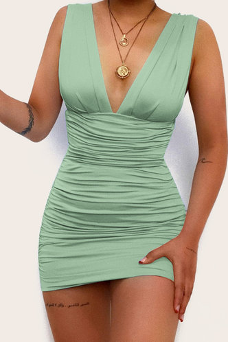 front_Dagmar Eileen Light Green Ruched Dress
