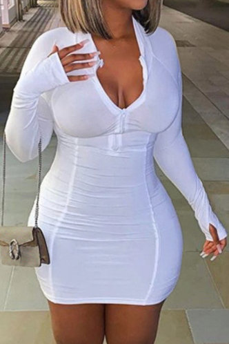 front_Solid Patchwork White Mini Dresses