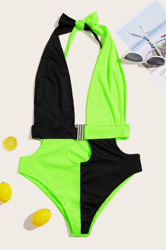 back_Gabrielle Elizabeth Black And Green One-Piece Swimsuit