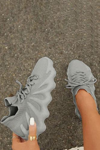 back_Low Heel Round Toe Light Grey Sneakers