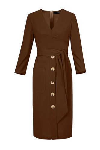 back_Amber Light Brown Midi Dress