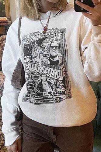 front_Vacation Street Crew Neck White Sweatshirts & Hoodies