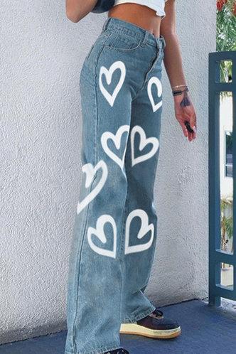 back_Dahlia Elma Blue Heart Print Jeans