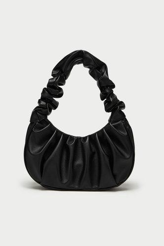 front_Solid Color Black Shoulder Bags
