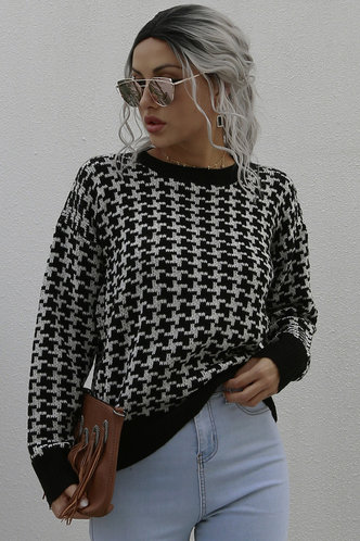front_Love for Love Black Houndstooth Sweater