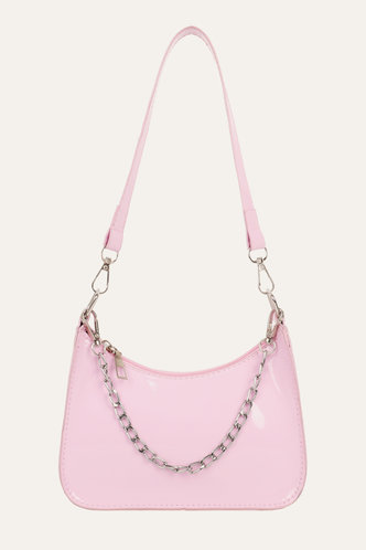 back_Chain Zipper Up Baby Pink Shoulder Bags