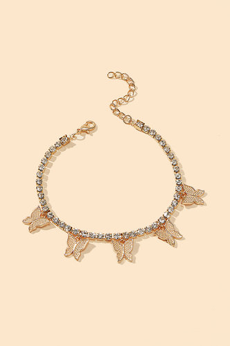 back_Amelia Elsie Gold Butterfly And Rhinestone Charm Anklet