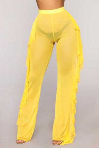 front_Maria Elva Lemon Yellow Pants