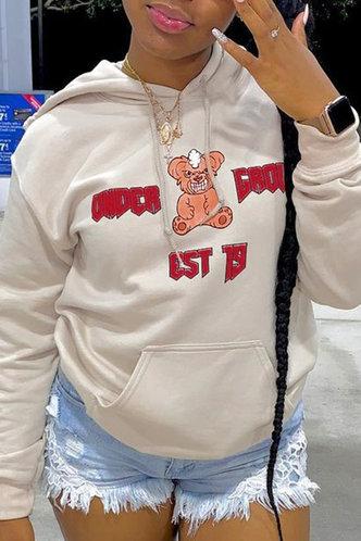 back_Casual Street Chic Hoodie Letter Cartoon Pocket Khaki Sweatshirts & Hoodies