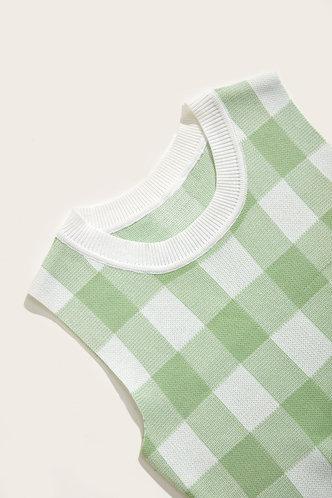back_Lisbeth Elizabeth Green Plaid Vest Sweater
