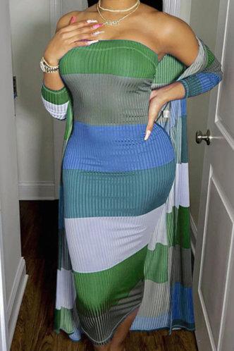 front_Green Colorblock  Dresses (No Cardigan)