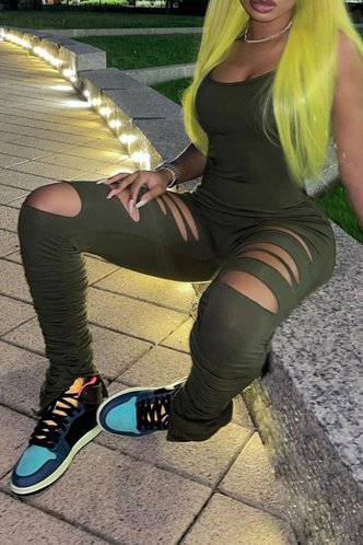 back_Scoop   conventional   Army Green Jumpsuits