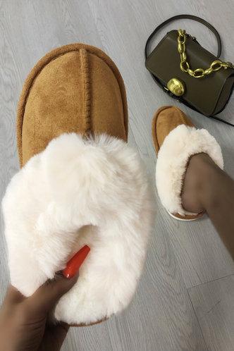 front_Color Block Patchwork Flat Khaki Slippers