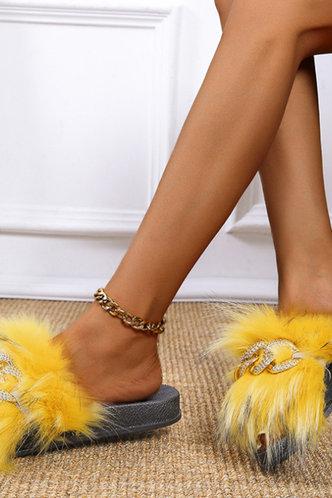 back_Katherine Ethel Yellow Plush Slides