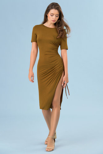 back_Curves Ahead Brown Midi Dress