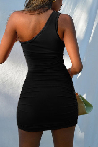back_Regan Edith Black One Shoulder Ruched Dress
