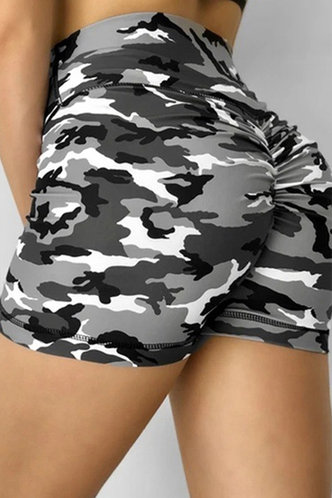 front_Candice Eartha Grey Camo Shorts