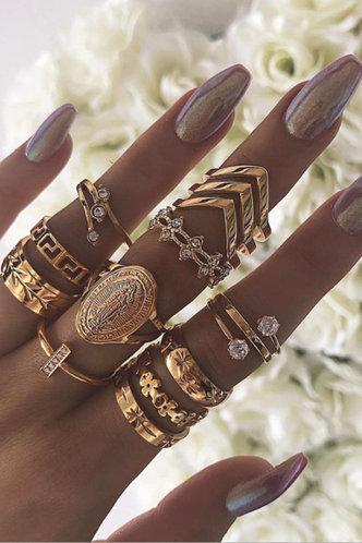 front_Sonya Elsa Gold Rhinestone Decor Ring 13pcs