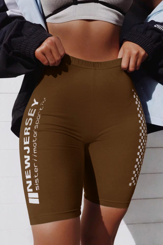 front_Freda Paner Brown Biker Shorts