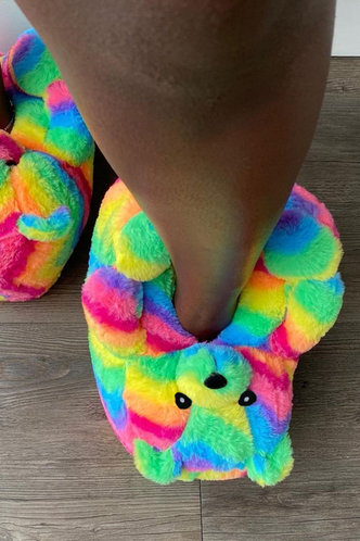 back_Striped Flat Rainbow Slippers