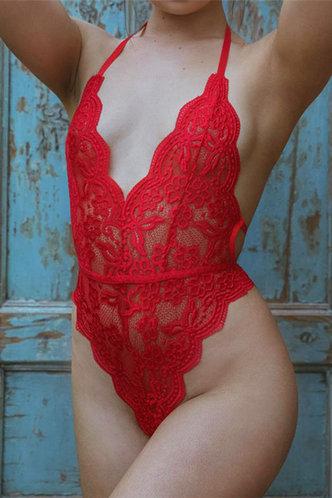 front_Halter Red Bodysuits