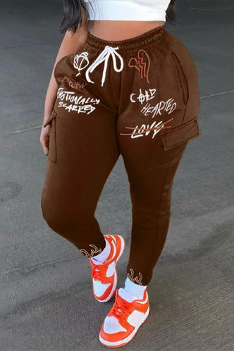 front_Mid Waist Letter Print Graphic Print   {Bottom Type} Brown Plus Size Sweatpants